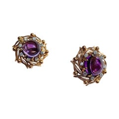 Vintage Clip On Earrings 18 Karat Yellow Gold Amethyst Cabochon Diamond