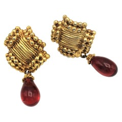 Vintage clip-on earrings from ANTIGONA PARIS 1970s, gold-plated with red drops