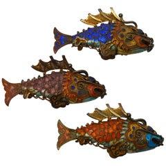 Vintage Cloisonné Enamel Gilt Silver Koi Fish Pendant Charms
