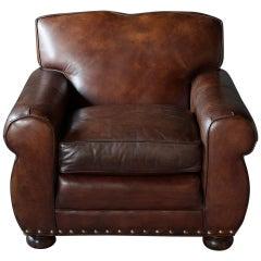 Vintage Brown Leather Club Chair