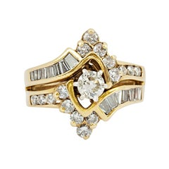Vintage Cluster Bypass Diamond Ring 14k Yellow Gold