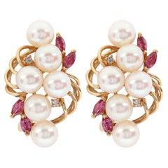 Vintage Cluster Pearl Ruby and Diamond Earrings