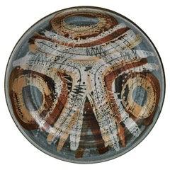 Vintage Clyde Burt Ceramic Pottery Bowl 14.75 Circa 1960's Blue Rust Earth Tones
