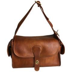 Vintage Coach Bag Large Haversack British Tan Leather Rare Metal Tag NYC Bag
