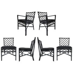 Vintage Coastal Modern Rattan Set of 6 Dining Chairs