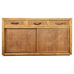 Vintage Coastal Modern Rattan / Woven Cane Cabinet