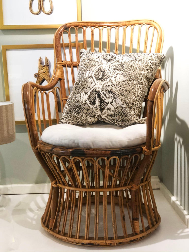Mid-Century Modern Vintage Coastal Rattan Chair with New Upholstered Cushion For Sale