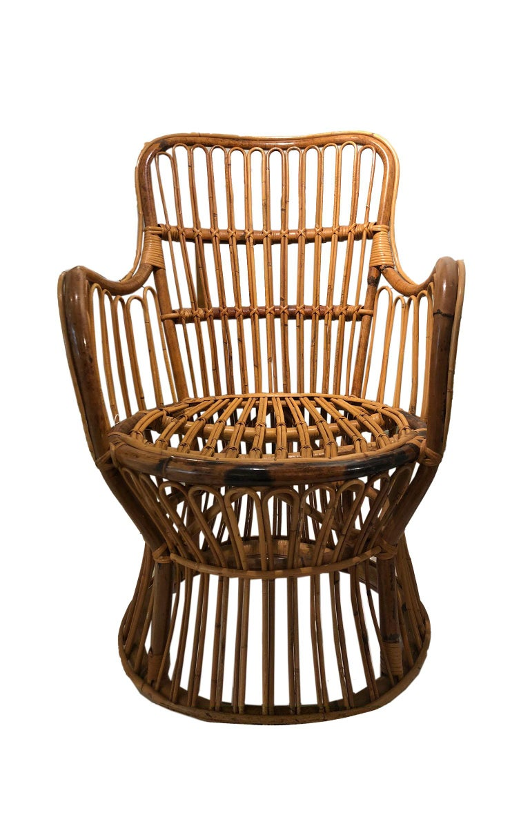 American Vintage Coastal Rattan Chair with New Upholstered Cushion For Sale