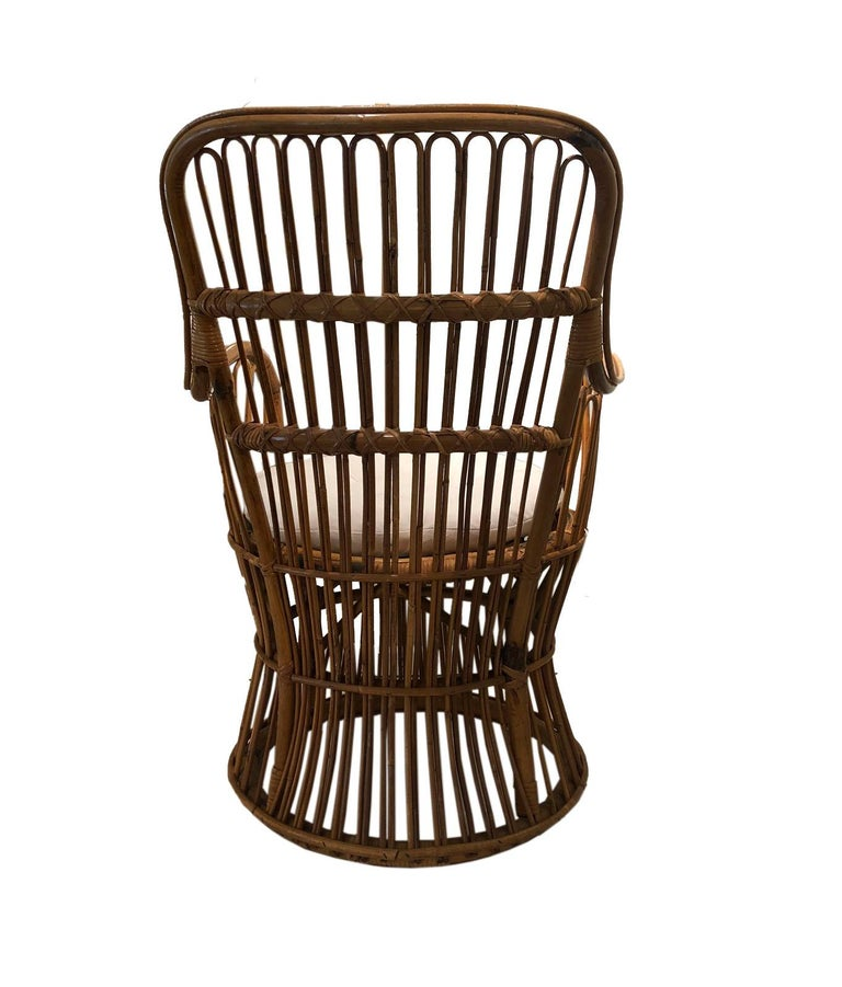 20th Century Vintage Coastal Rattan Chair with New Upholstered Cushion For Sale