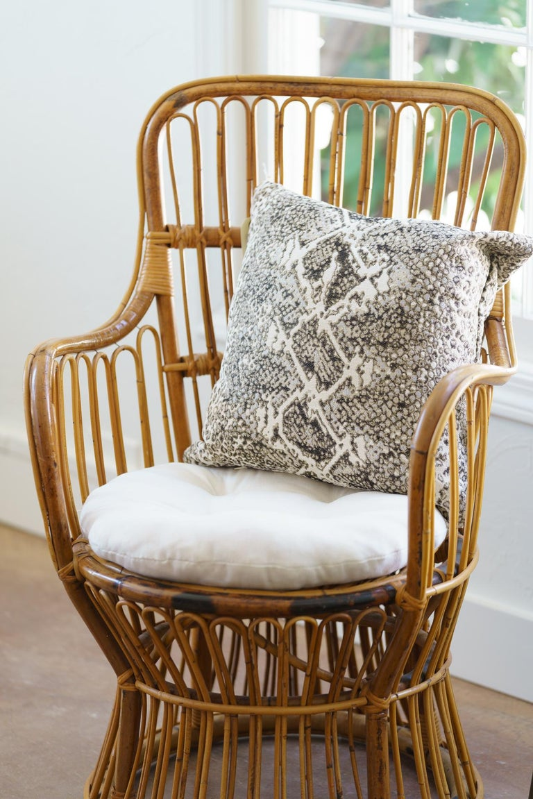 Upholstery Vintage Coastal Rattan Chair with New Upholstered Cushion For Sale