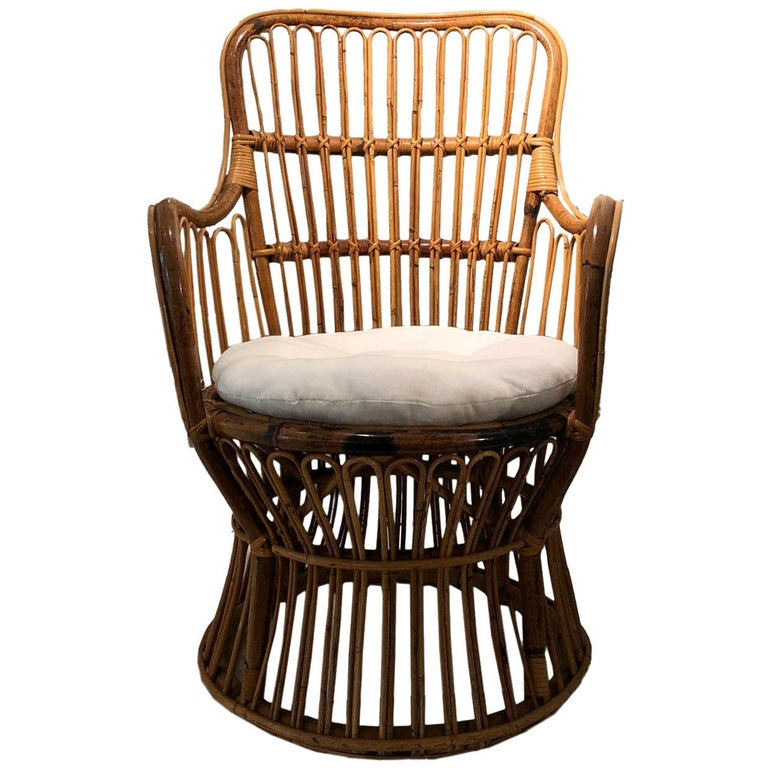 Vintage Coastal Rattan Chair with New Upholstered Cushion For Sale