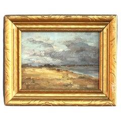 Vintage Coastal Seascape Oil Painting, Signed F. Weber 1957
