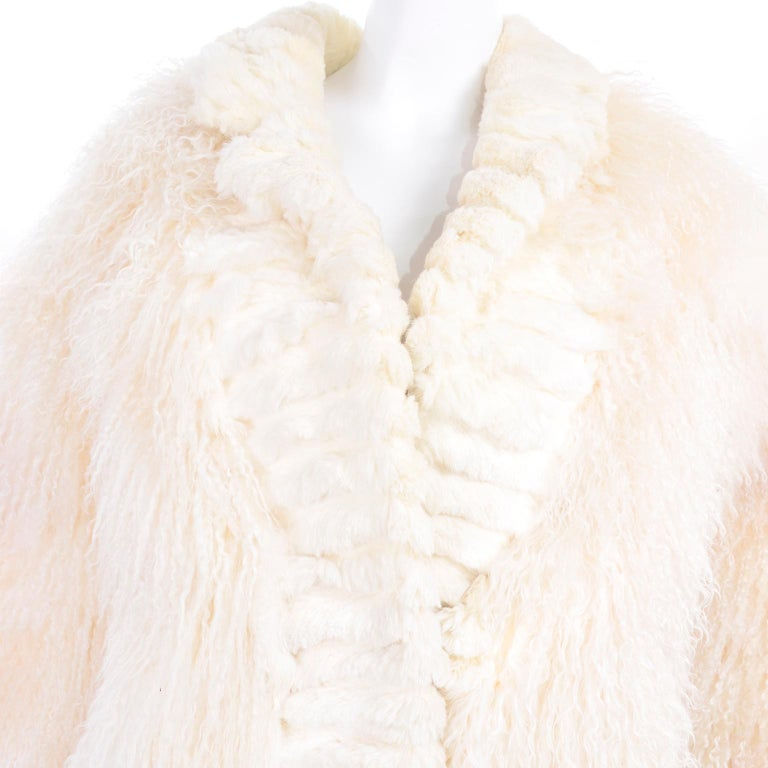 Ivory Cream Vintage Coat Tibetan Lamb Fur Jacket With Rabbit Fur Trim For Sale 5