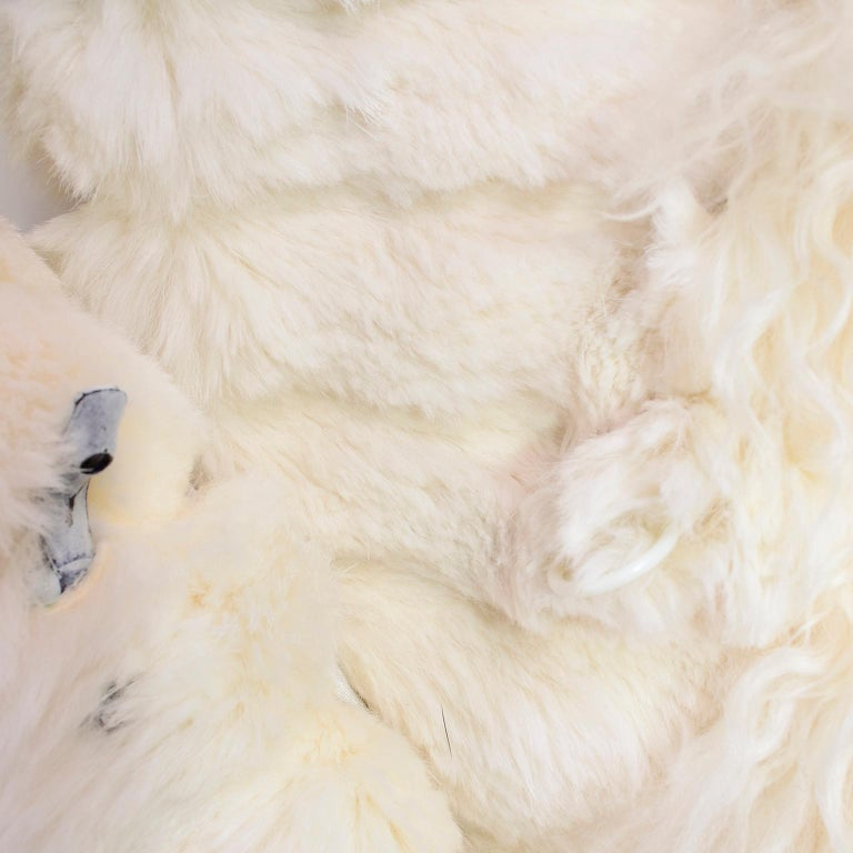 Ivory Cream Vintage Coat Tibetan Lamb Fur Jacket With Rabbit Fur Trim For Sale 6