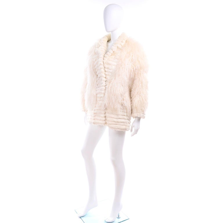 White Vintage Coat in Ivory Cream Tibetan Lamb Fur With Rabbit Fur Trim For Sale