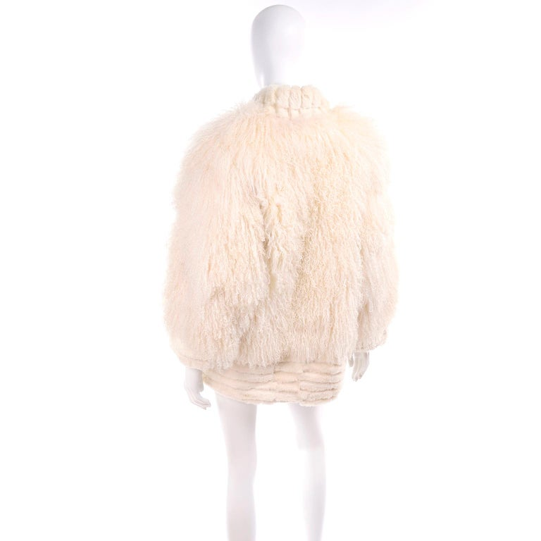 Ivory Cream Vintage Coat Tibetan Lamb Fur Jacket With Rabbit Fur Trim In Excellent Condition For Sale In Portland, OR