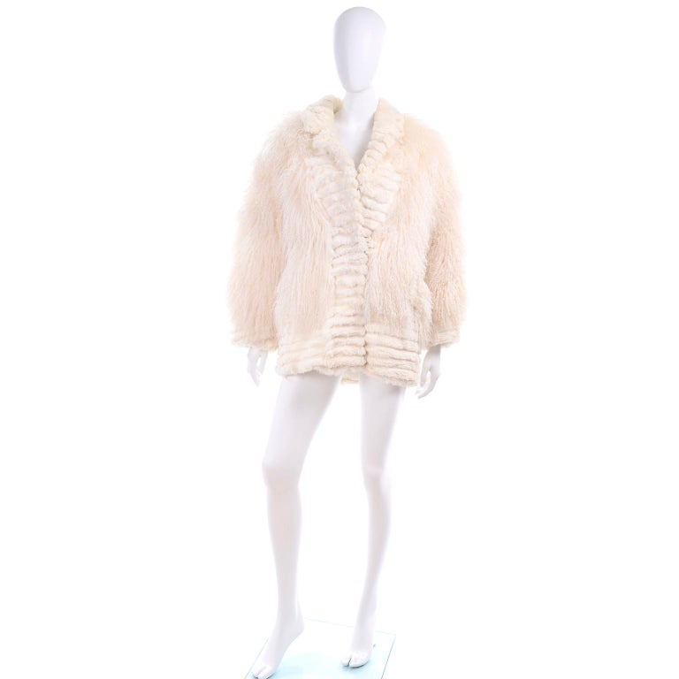 Women's or Men's Vintage Coat in Ivory Cream Tibetan Lamb Fur With Rabbit Fur Trim For Sale