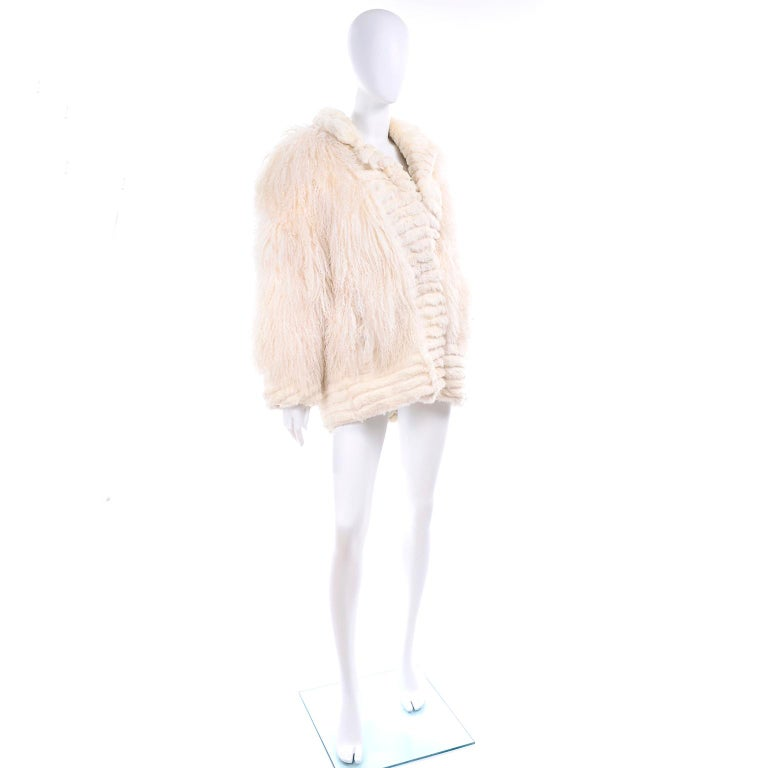 Ivory Cream Vintage Coat Tibetan Lamb Fur Jacket With Rabbit Fur Trim For Sale 1