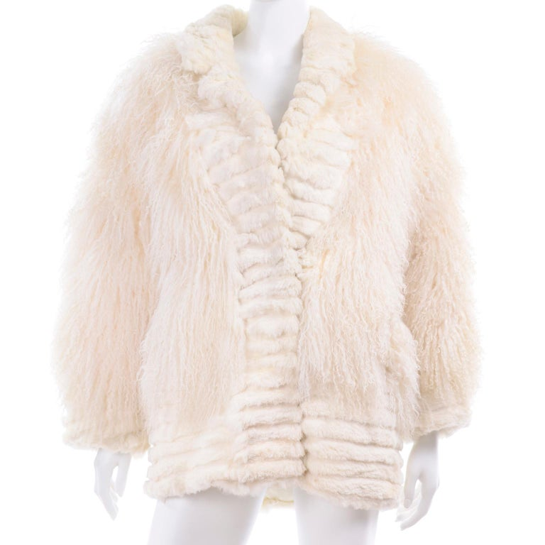 Ivory Cream Vintage Coat Tibetan Lamb Fur Jacket With Rabbit Fur Trim For Sale 2
