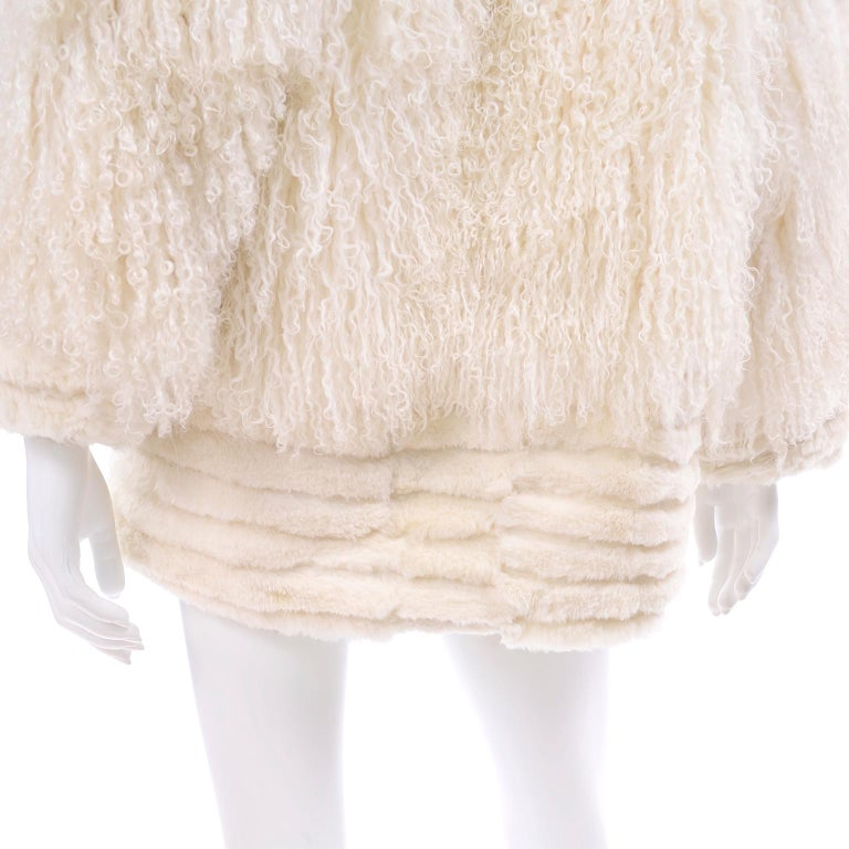 Ivory Cream Vintage Coat Tibetan Lamb Fur Jacket With Rabbit Fur Trim For Sale 4