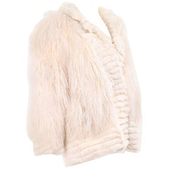 Ivory Cream Vintage Coat Tibetan Lamb Fur Jacket With Rabbit Fur Trim