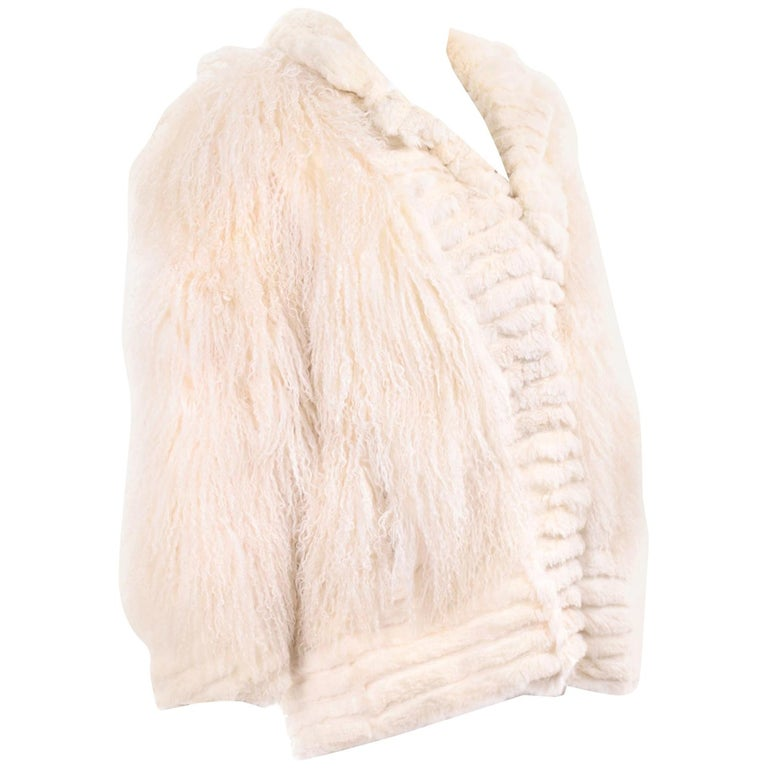 Ivory Cream Vintage Coat Tibetan Lamb Fur Jacket With Rabbit Fur Trim For Sale