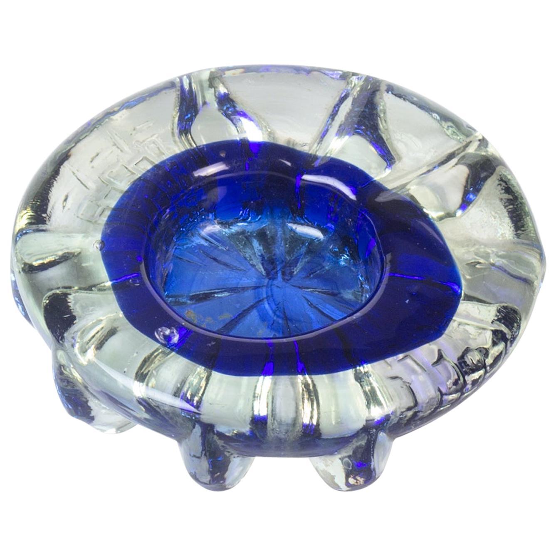 Vintage Cobalt Blue Glass Ashtray, Italy, 1970s