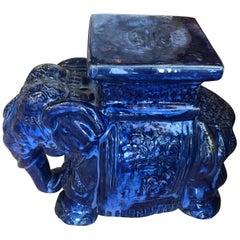 Vintage Cobalt Blue Glazed Elephant Garden Stool Stand