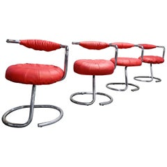 Vintage Cobra Dining Chairs by Giotto Stoppino, 1970s