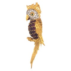 Vintage Cockatoo Ruby Diamond and Emerald Brooch 18K Yellow Gold