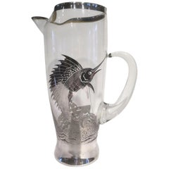 Vintage Cocktail Pitcher with Applied Sterling Silver Sailfish by Rockwell