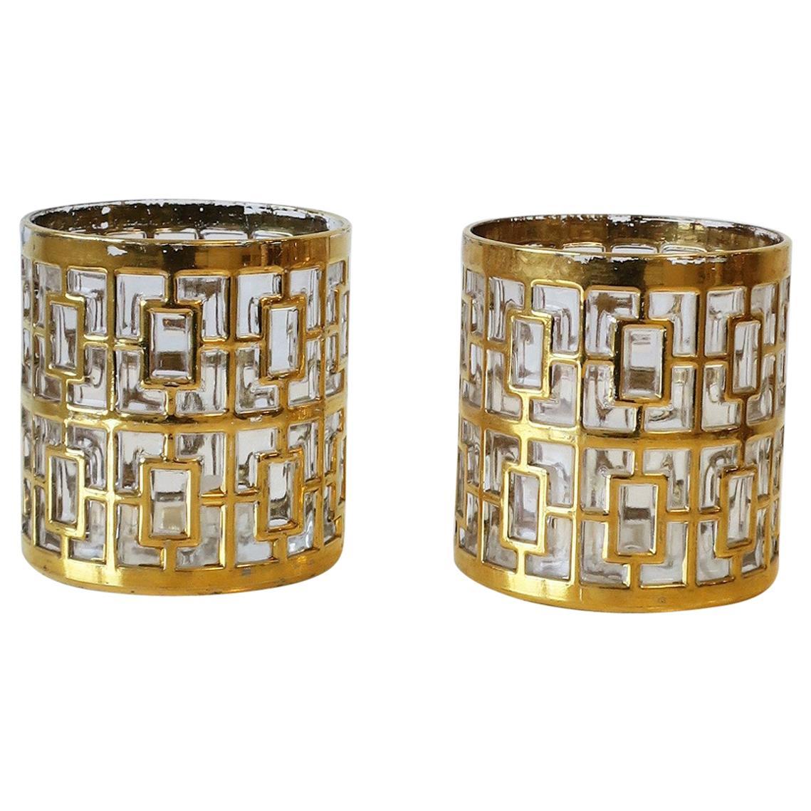 Vintage Cocktail Rocks' Glasses 22-Kt Gold, ca. 1960s, Set of 2