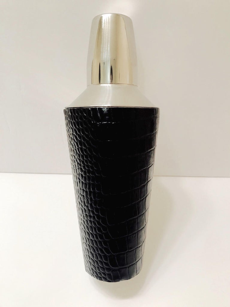 Contemporary Vintage Cocktail Shaker in Croc Embossed Leather and Stainless Steel For Sale