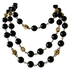 "Vintage Coco Chanel Black Gilt Diamanté Statement Necklace ""Sautoir"""