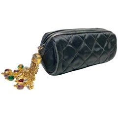 Vintage Coco Chanel Black Satin Gold Tassel Gripoix Evening Bag