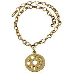 Vintage COCO CHANEL Cutout Openwork Logo Medallion Inès de la Fressange Necklace