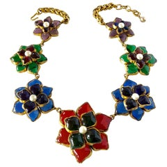 Vintage Coco Chanel Flower Statement Necklace