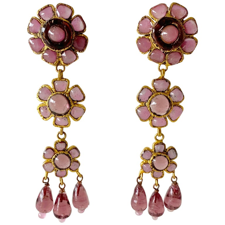"""Vintage Coco Chanel """"Gripoix"""" Lavender Statement Earrings  For Sale"""