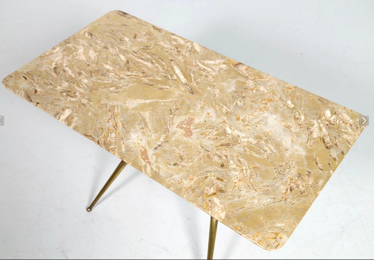 Mid-20th Century Vintage Coffee Table in Marble, Leather and Brass, Italian Manufacture, 1960s For Sale