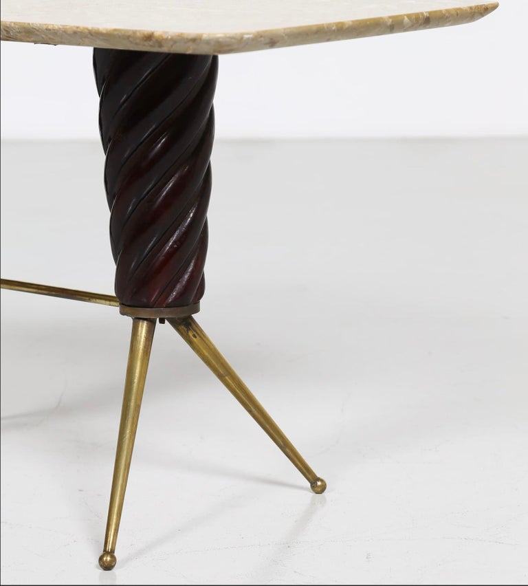 Vintage Coffee Table in Marble, Leather and Brass, Italian Manufacture, 1960s For Sale 2