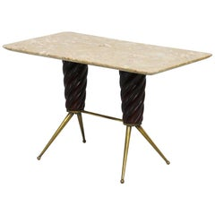 Vintage Coffee Table in Marble, Leather and Brass, Italian Manufacture, 1960s