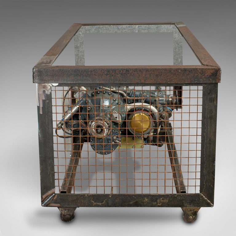 Steel Vintage Coffee Table, English, Industrial Taste, RAF Tornado, Aviation Gearbox For Sale