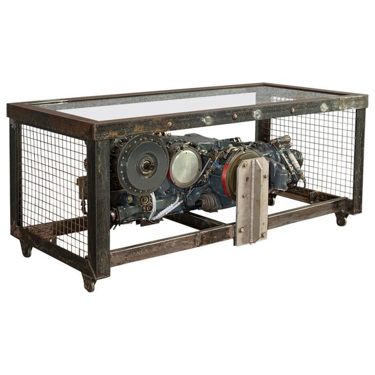 Vintage Coffee Table, English, Industrial Taste, RAF Tornado, Aviation Gearbox For Sale