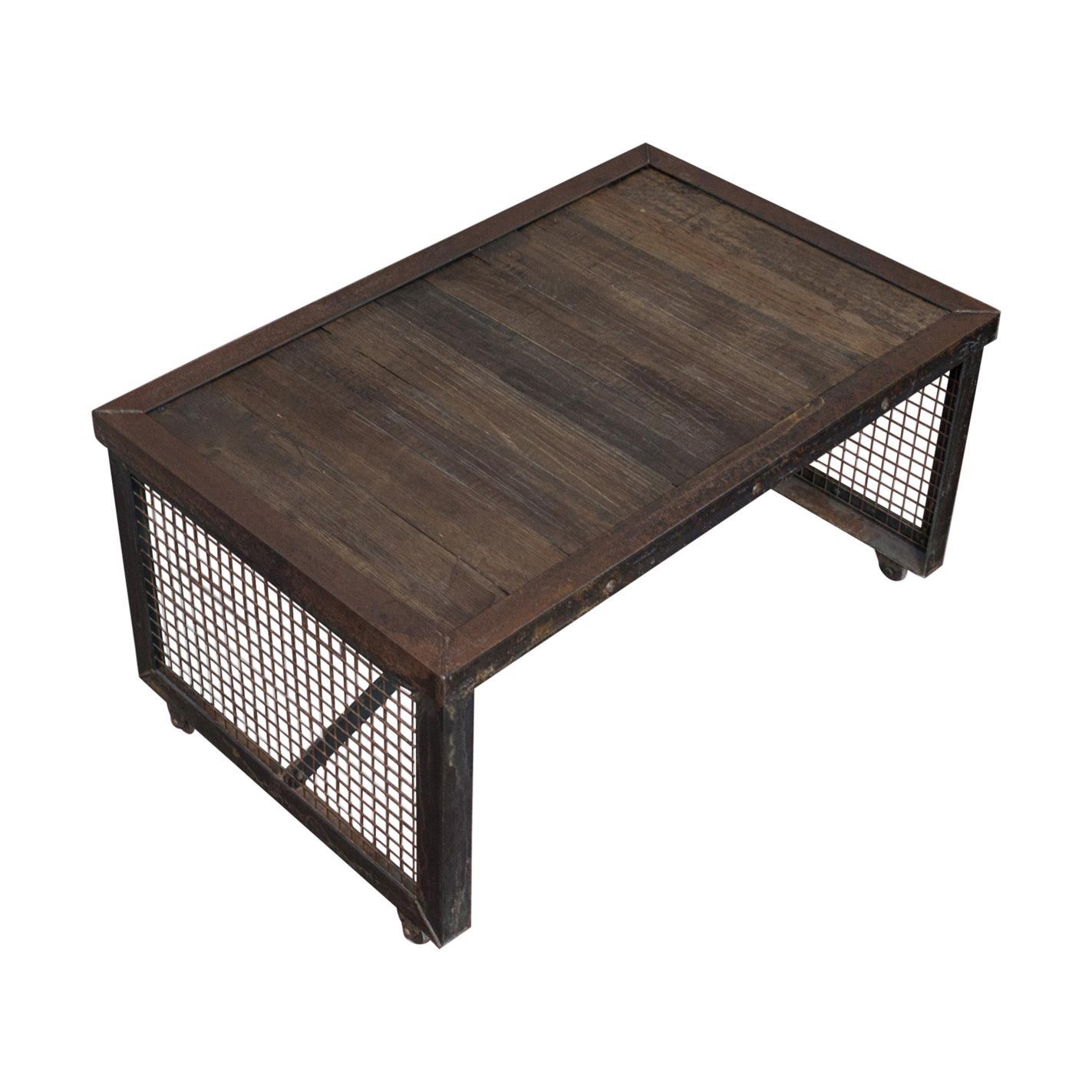 Vintage Coffee Table, Industrial Taste, English, Steel, Oak, 20th Century
