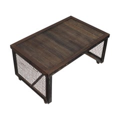 Vintage Coffee Table, Industrial Taste, English, Steel, Oak, 20th Century