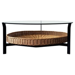 Vintage Coffee Table of a Metal Frame, Wicker Basket and Glass Top, the Netherla