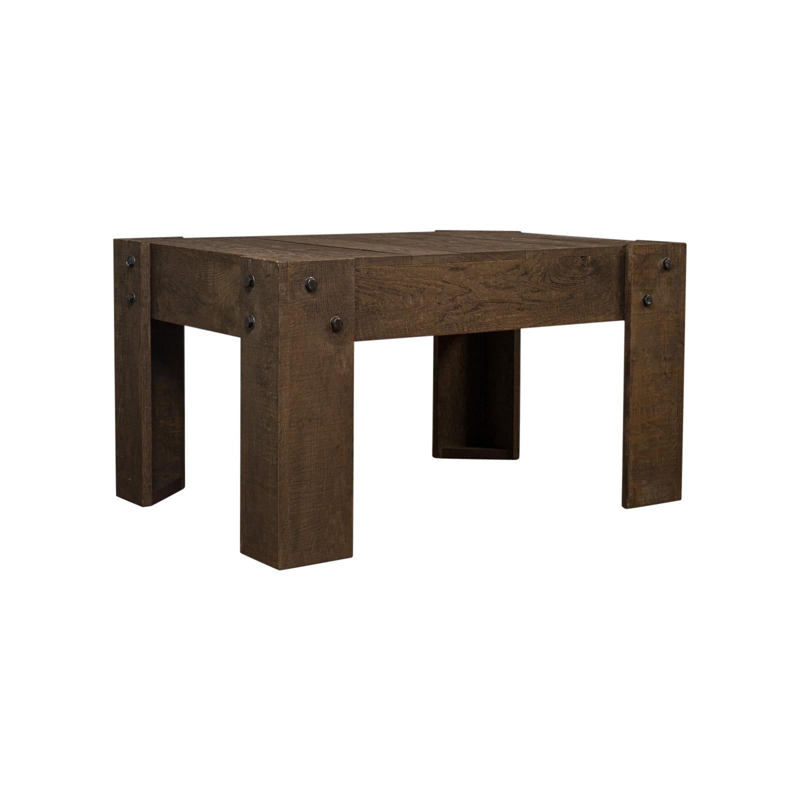 Vintage Coffee Table, Rustic, English, Oak, Occasional, Side, Industrial