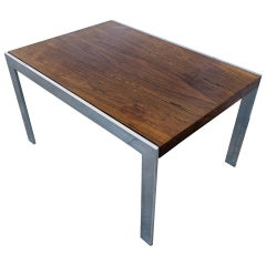 Vintage Coffee Table with Chrome Base by Milo Baughman