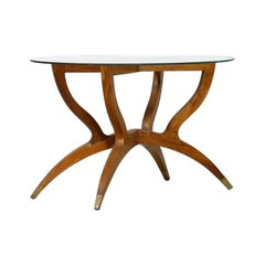 Vintage Coffee Table Wood, Brass and Crystal, Italy, 1950s