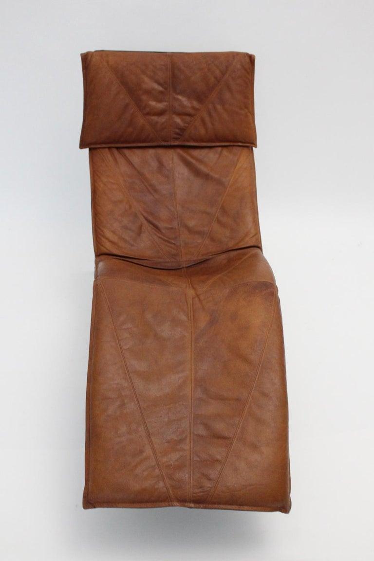 Vintage Cognac Leather Chaise Longue by Tord Bjorklund Sweden, 1970 For Sale 2